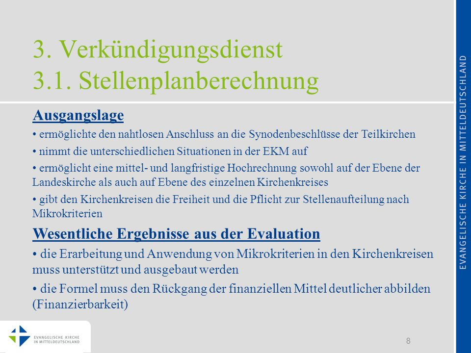 3. Verkündigungsdienst 3.1. Stellenplanberechnung