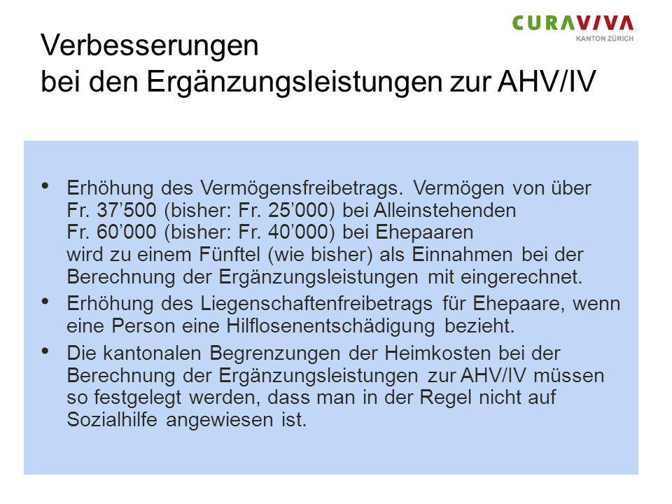 Verbesserungen bei den Ergänzungsleistungen zur AHV/IV