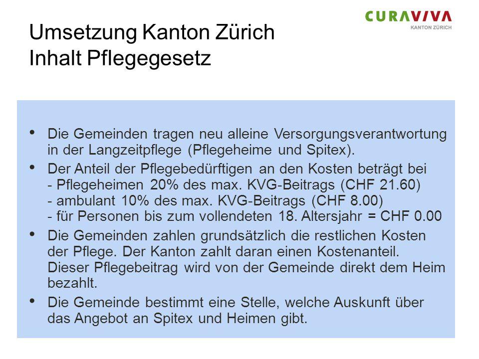 Umsetzung Kanton Zürich Inhalt Pflegegesetz