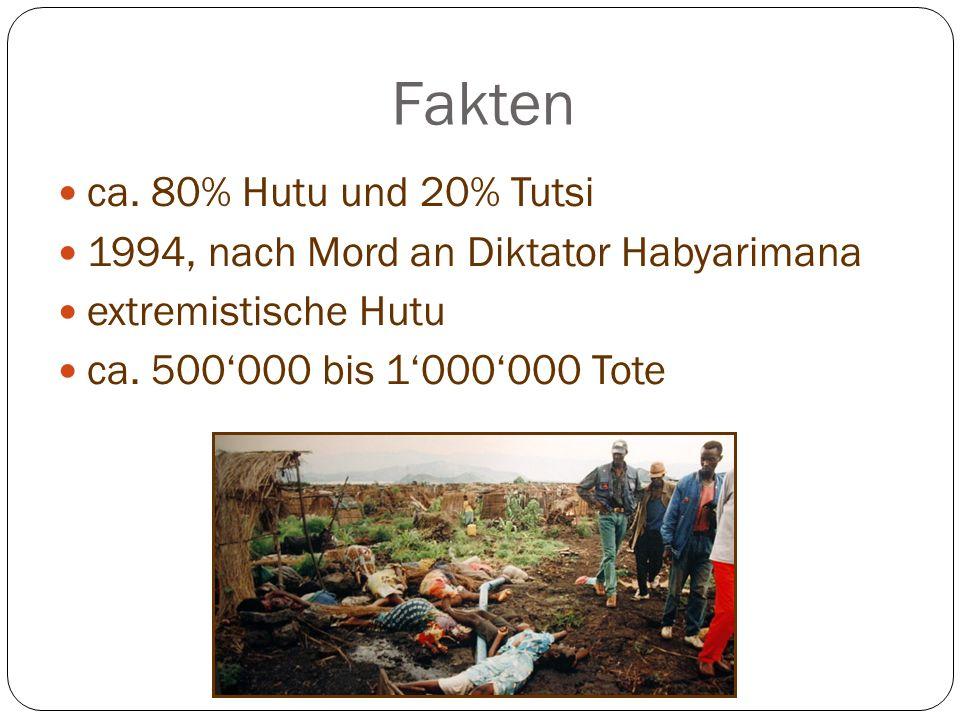 Fakten ca. 80% Hutu und 20% Tutsi