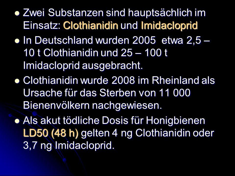 Zwei Substanzen sind hauptsächlich im Einsatz: Clothianidin und Imidacloprid