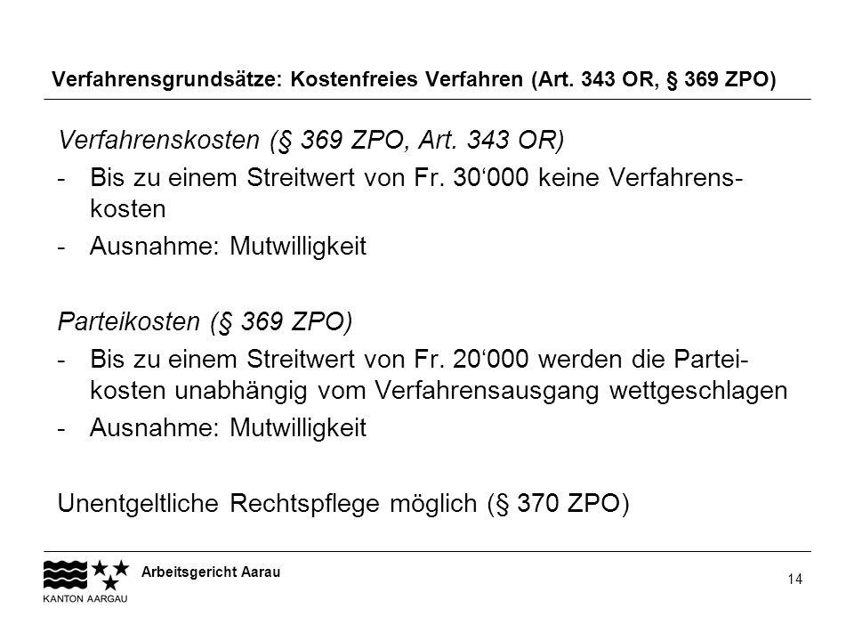 Verfahrensgrundsätze: Kostenfreies Verfahren (Art. 343 OR, § 369 ZPO)