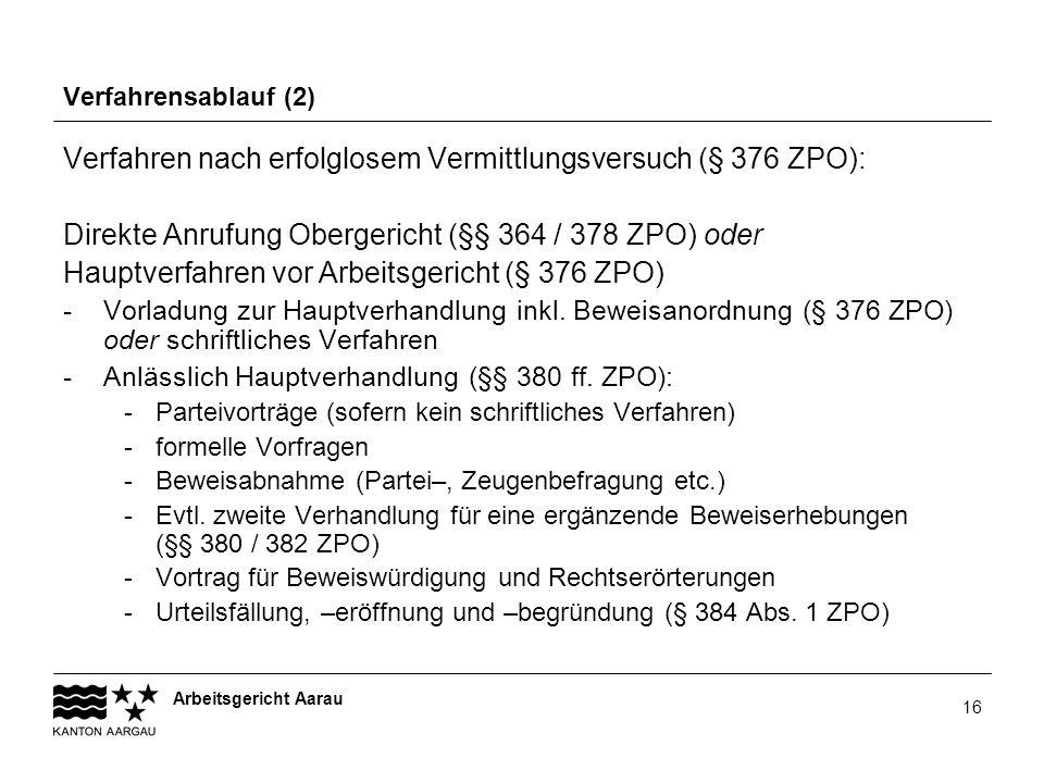 Verfahren nach erfolglosem Vermittlungsversuch (§ 376 ZPO):