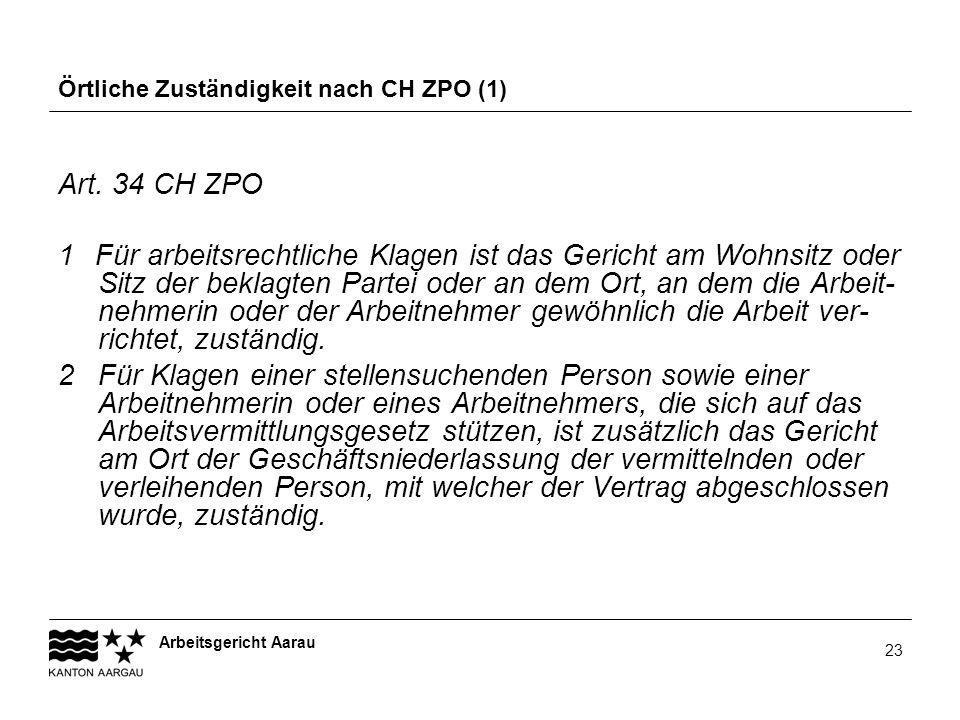 Örtliche Zuständigkeit nach CH ZPO (1)