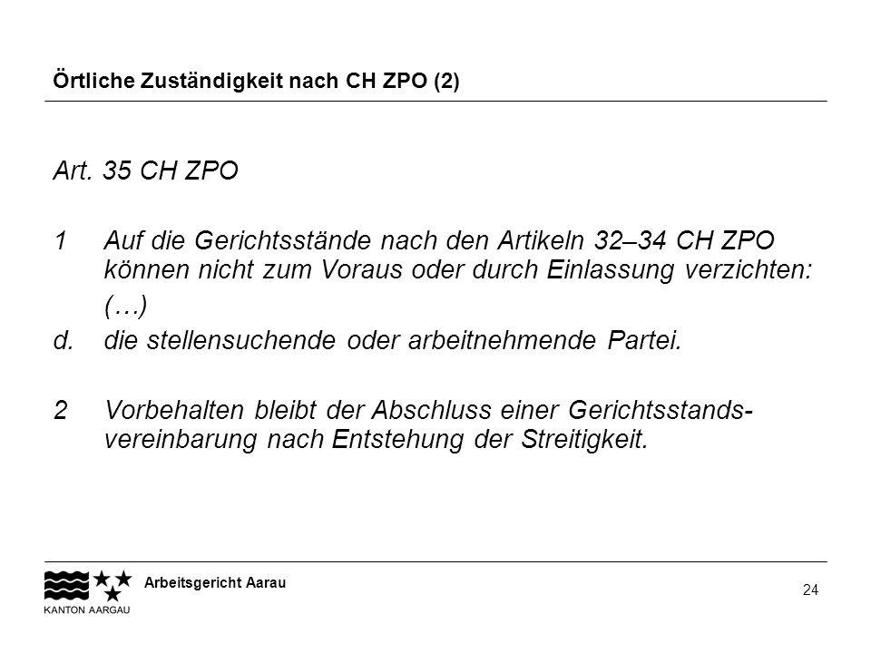 Örtliche Zuständigkeit nach CH ZPO (2)