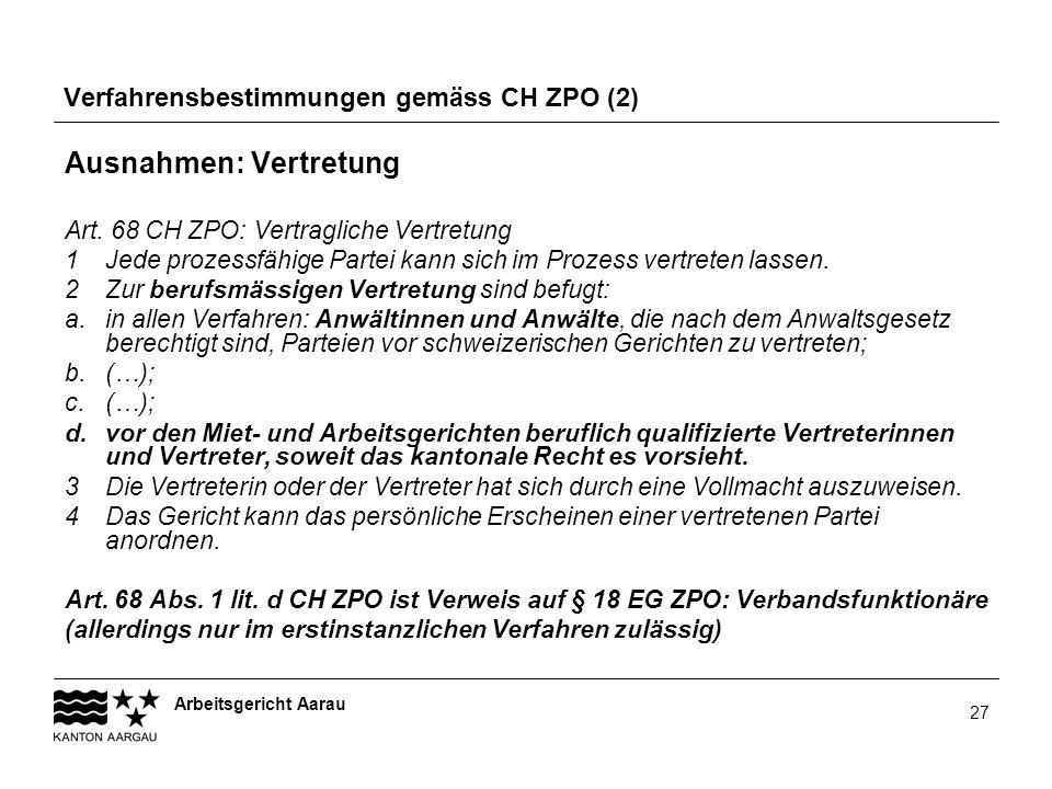 Verfahrensbestimmungen gemäss CH ZPO (2)