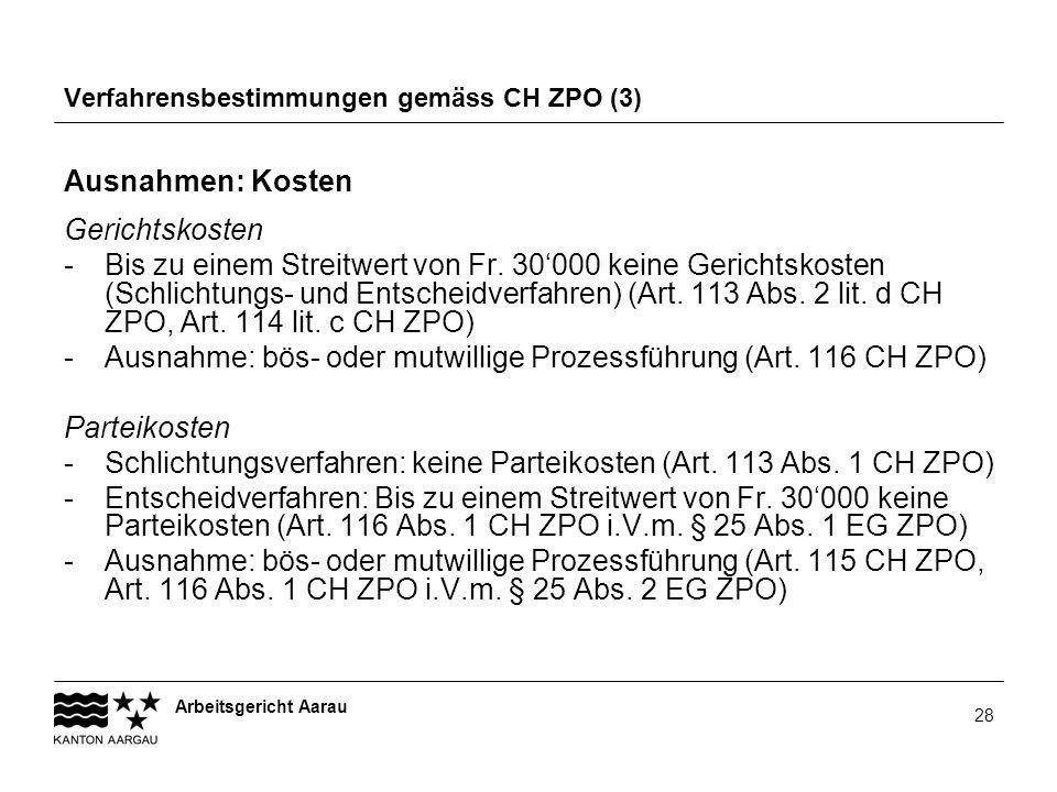 Verfahrensbestimmungen gemäss CH ZPO (3)