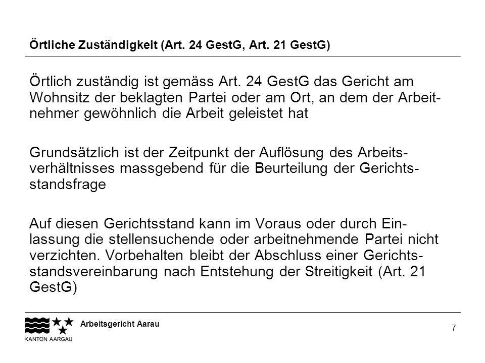 Örtliche Zuständigkeit (Art. 24 GestG, Art. 21 GestG)