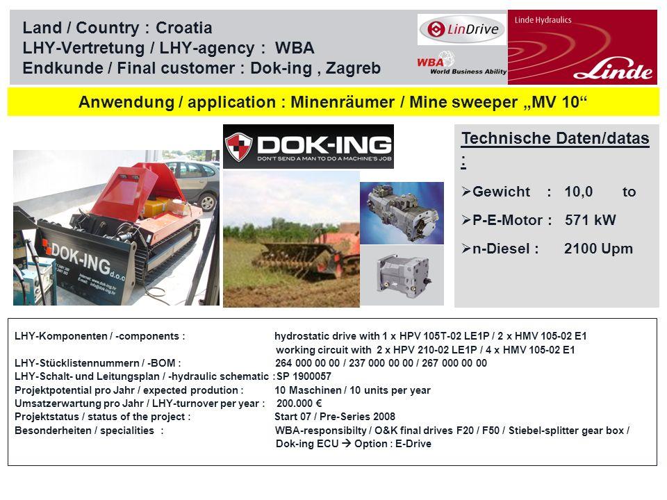 "Anwendung / application : Minenräumer / Mine sweeper ""MV 10"