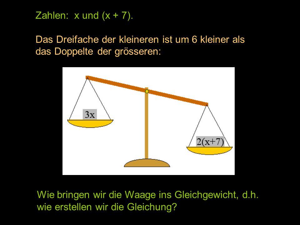 Zahlen: x und (x + 7). Das Dreifache der kleineren ist um 6 kleiner als. das Doppelte der grösseren: