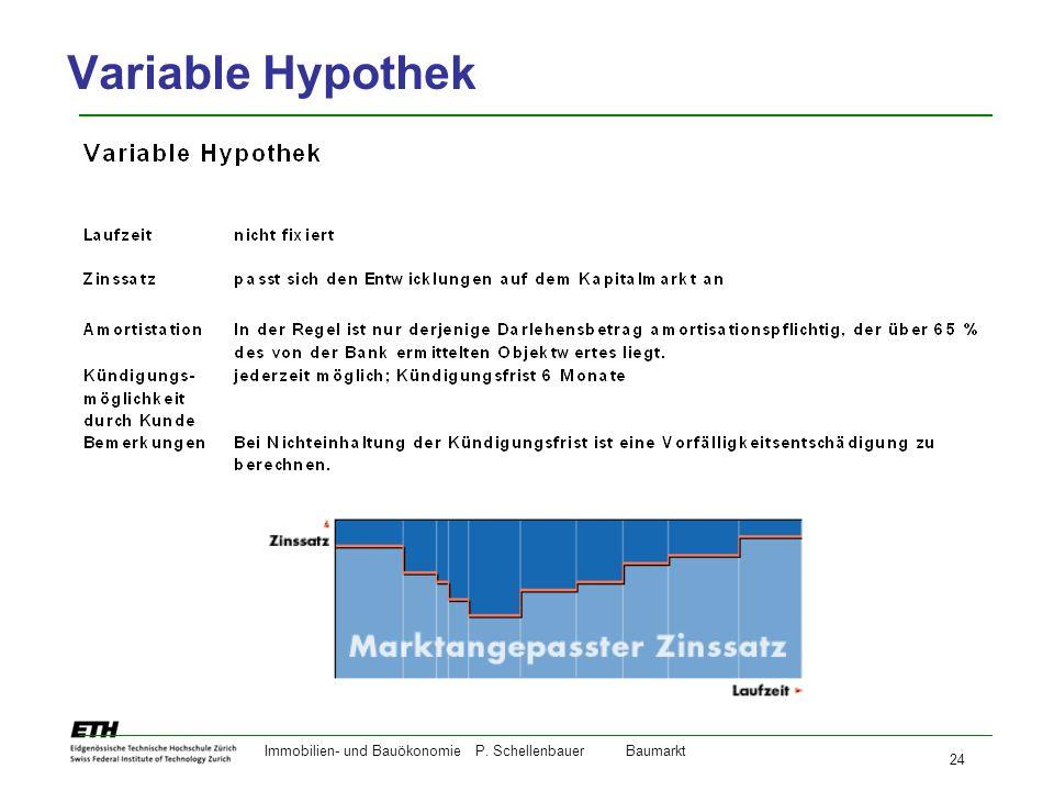 Variable Hypothek Immobilien- und Bauökonomie P. Schellenbauer Baumarkt