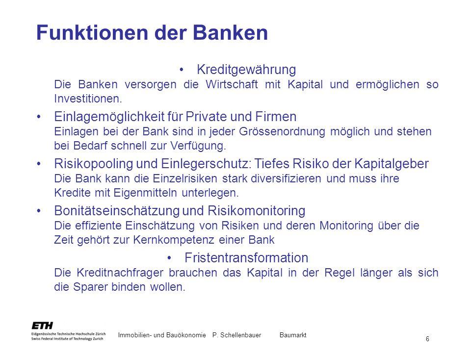 Funktionen der Banken Kreditgewährung Die Banken versorgen die Wirtschaft mit Kapital und ermöglichen so Investitionen.
