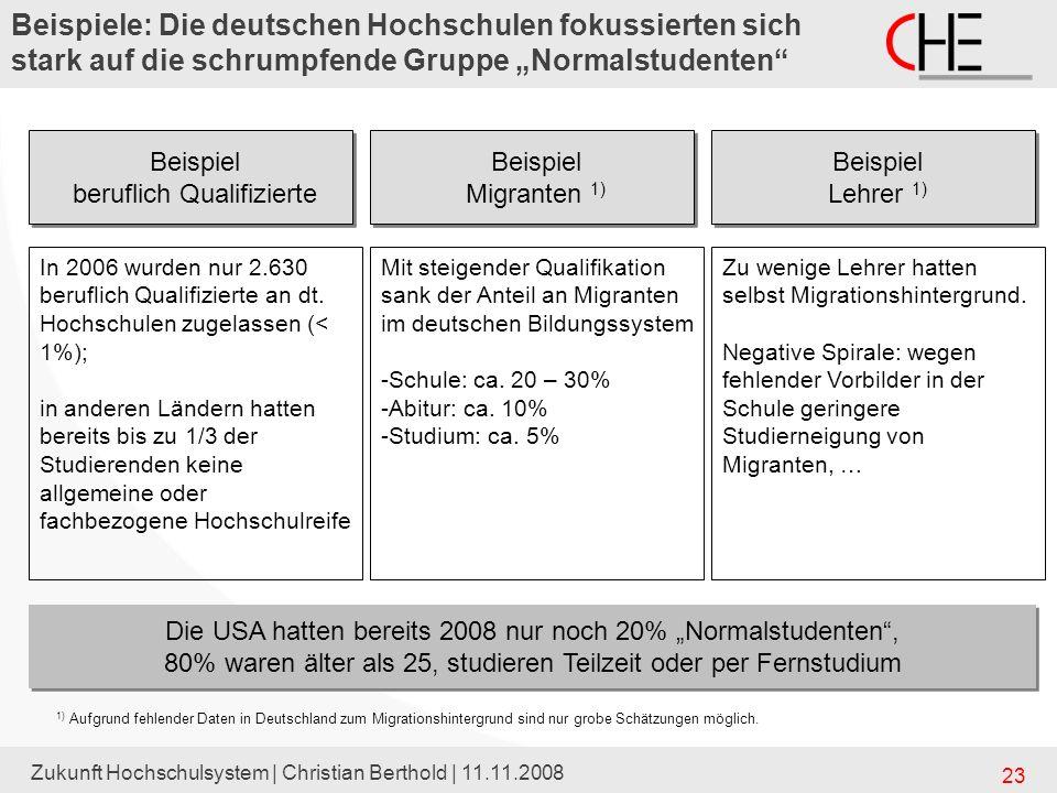 """Beispiele: Die deutschen Hochschulen fokussierten sich stark auf die schrumpfende Gruppe """"Normalstudenten"""