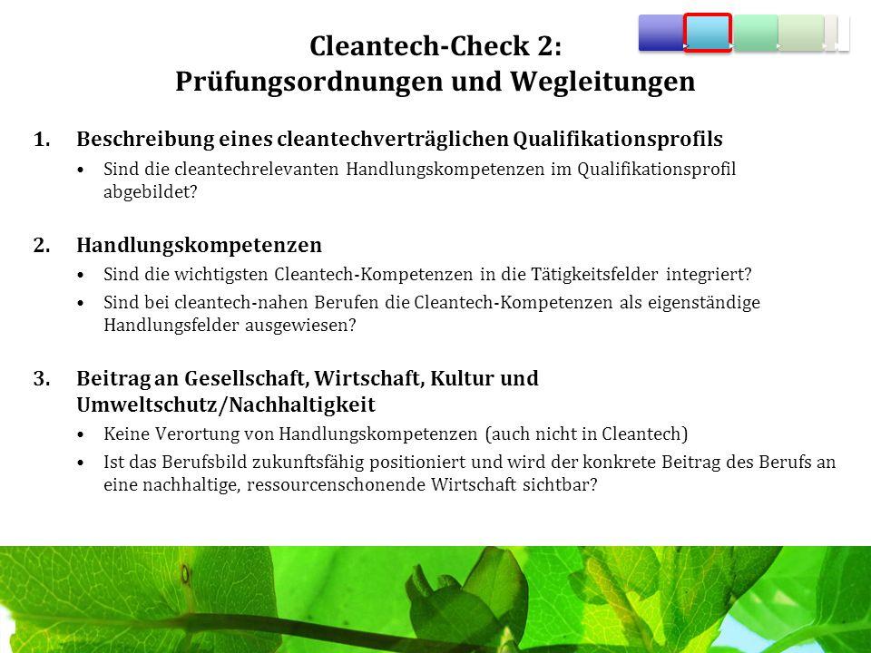 Cleantech-Check 2: Prüfungsordnungen und Wegleitungen