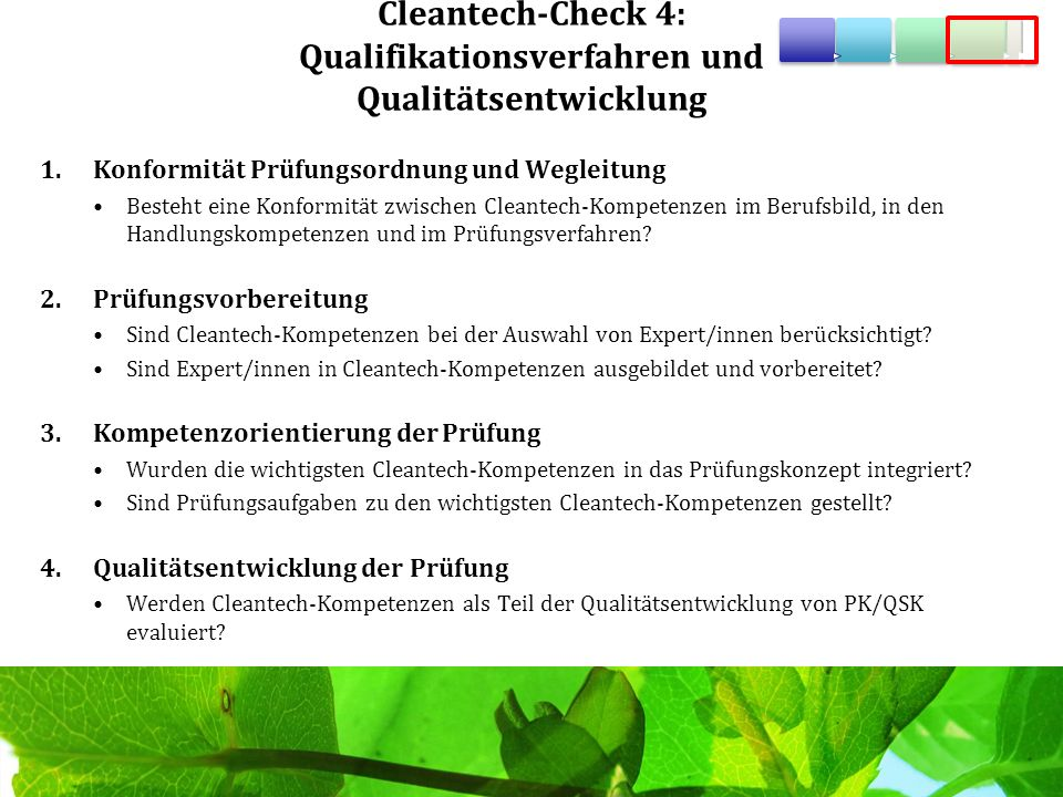 Cleantech-Check 4: Qualifikationsverfahren und Qualitätsentwicklung