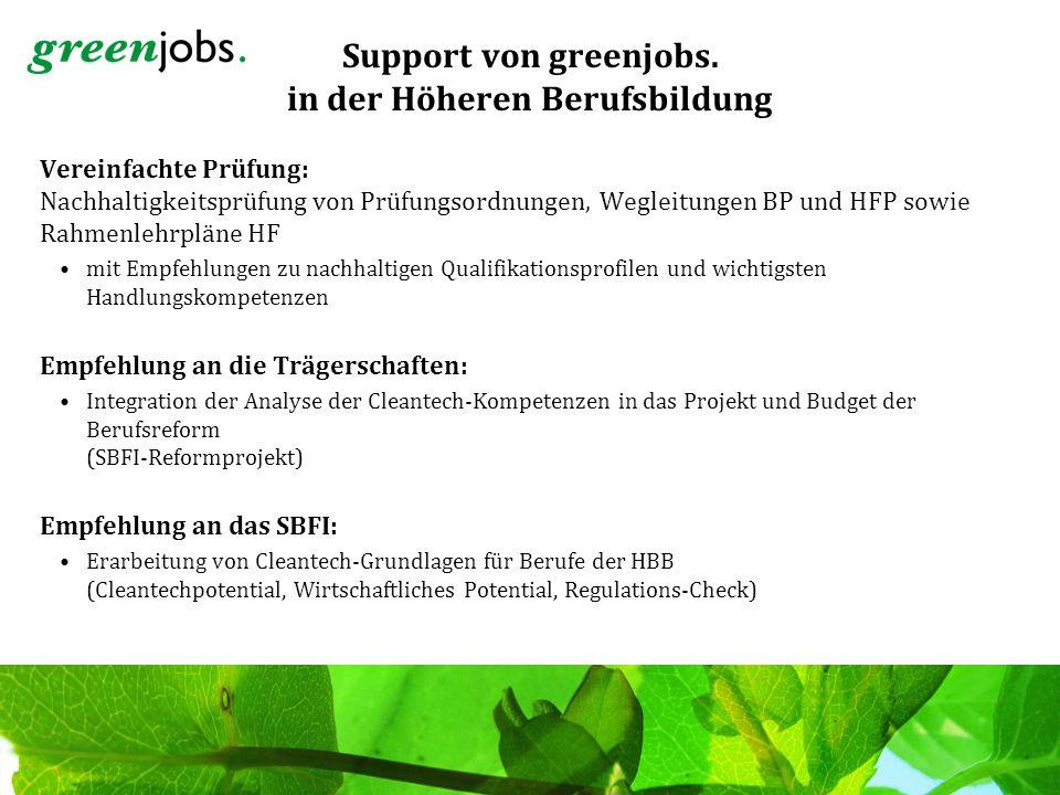 Support von greenjobs. in der Höheren Berufsbildung