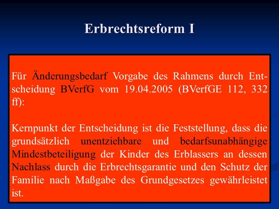 Erbrechtsreform I Für Änderungsbedarf Vorgabe des Rahmens durch Ent-scheidung BVerfG vom 19.04.2005 (BVerfGE 112, 332 ff):