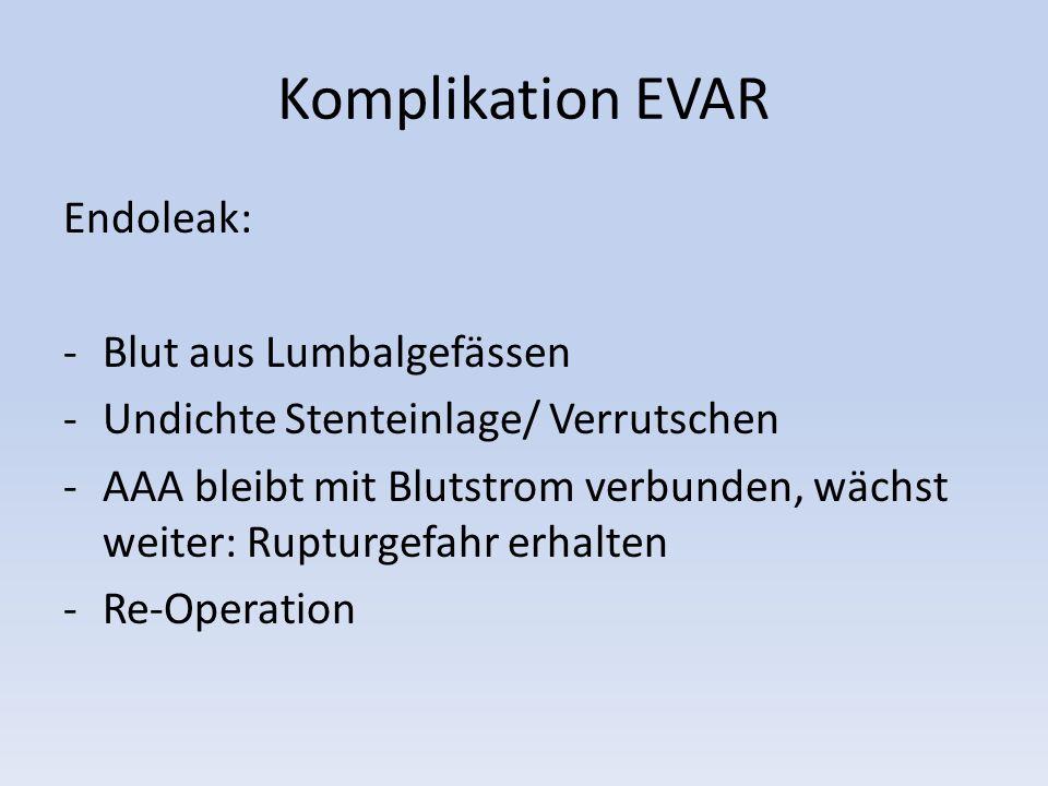 Komplikation EVAR Endoleak: Blut aus Lumbalgefässen