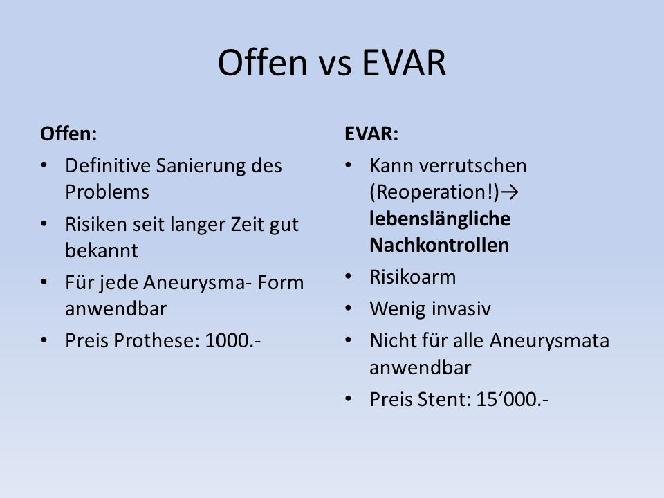 Offen vs EVAR Offen: Definitive Sanierung des Problems