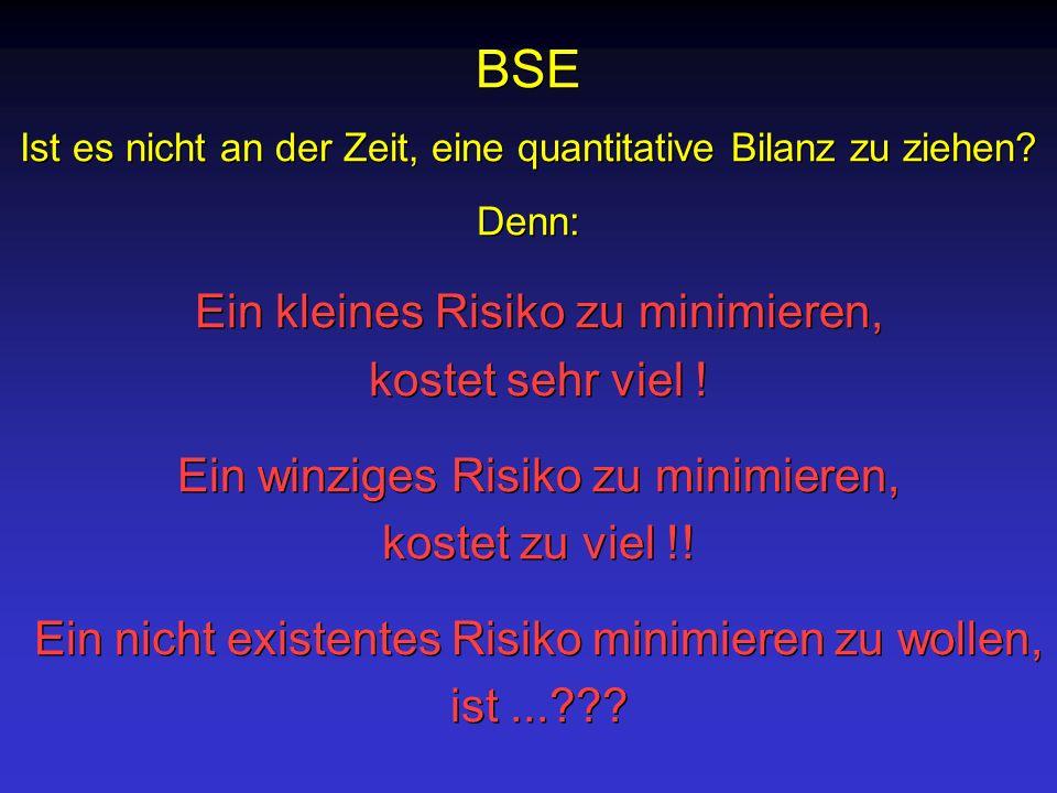 BSE Ein winziges Risiko zu minimieren, kostet zu viel !!