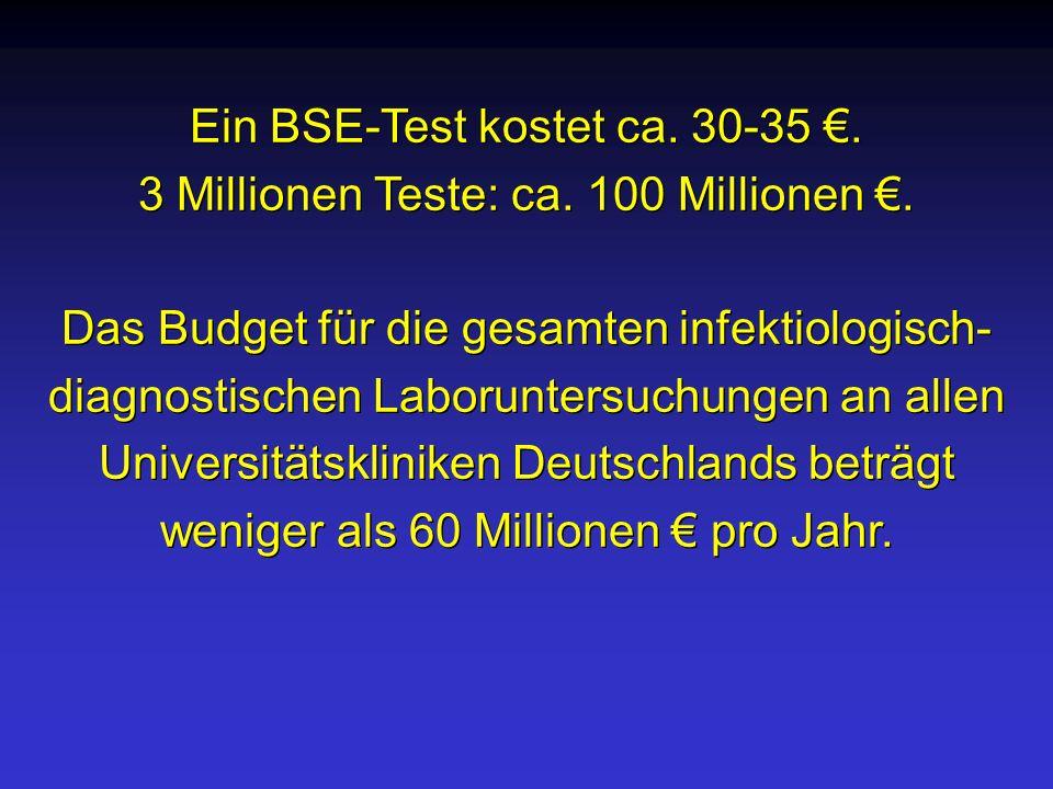Ein BSE-Test kostet ca. 30-35 €.