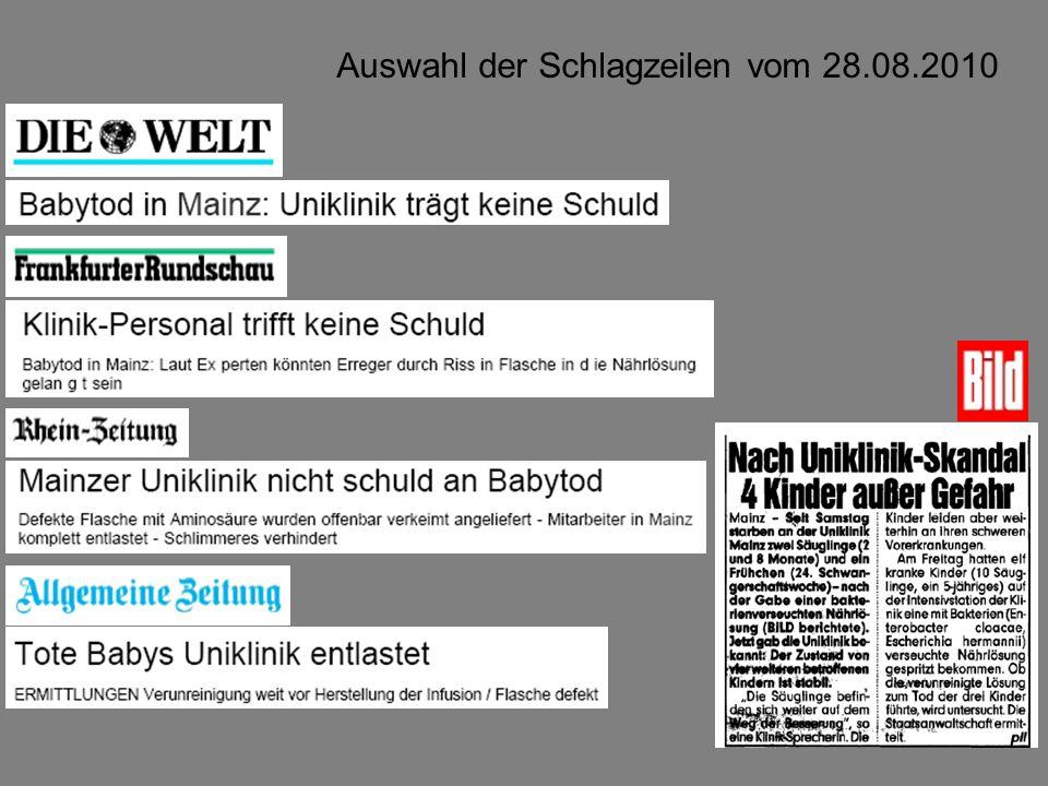 Auswahl der Schlagzeilen vom 28.08.2010