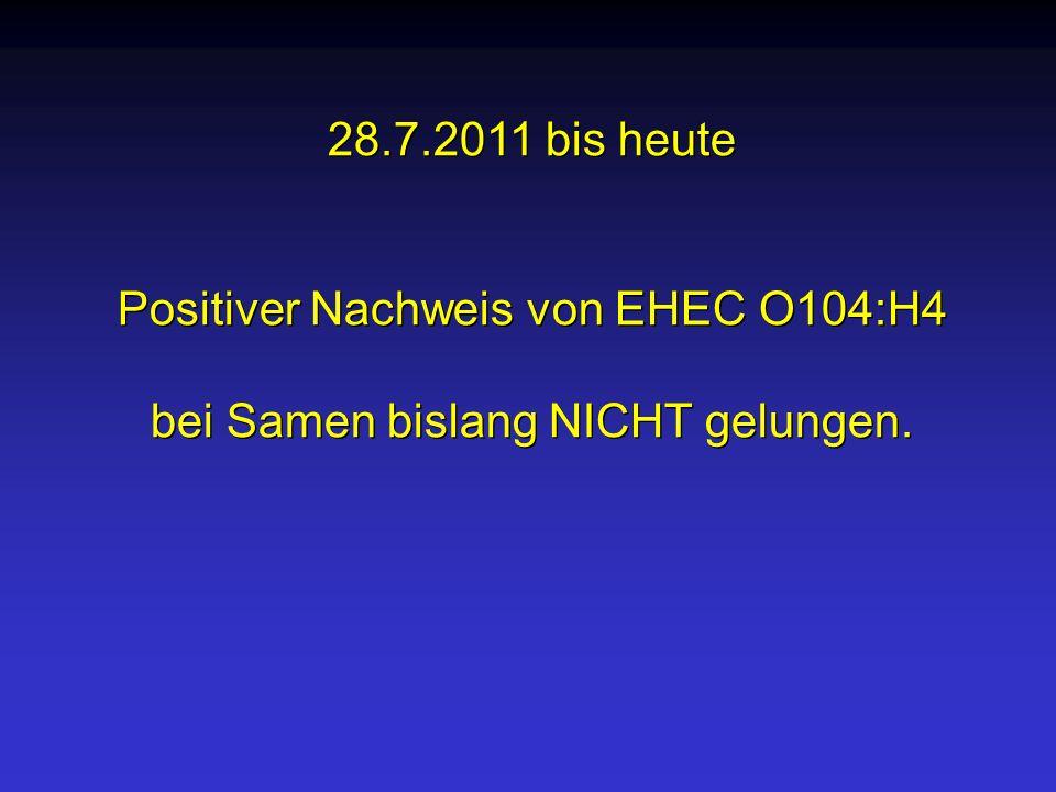 Positiver Nachweis von EHEC O104:H4 bei Samen bislang NICHT gelungen.