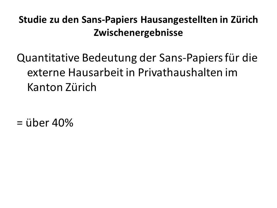 Studie zu den Sans-Papiers Hausangestellten in Zürich Zwischenergebnisse