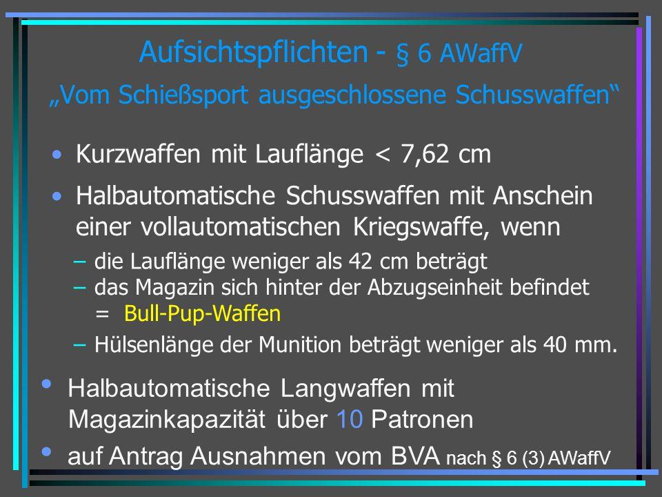 """Aufsichtspflichten - § 6 AWaffV """"Vom Schießsport ausgeschlossene Schusswaffen"""
