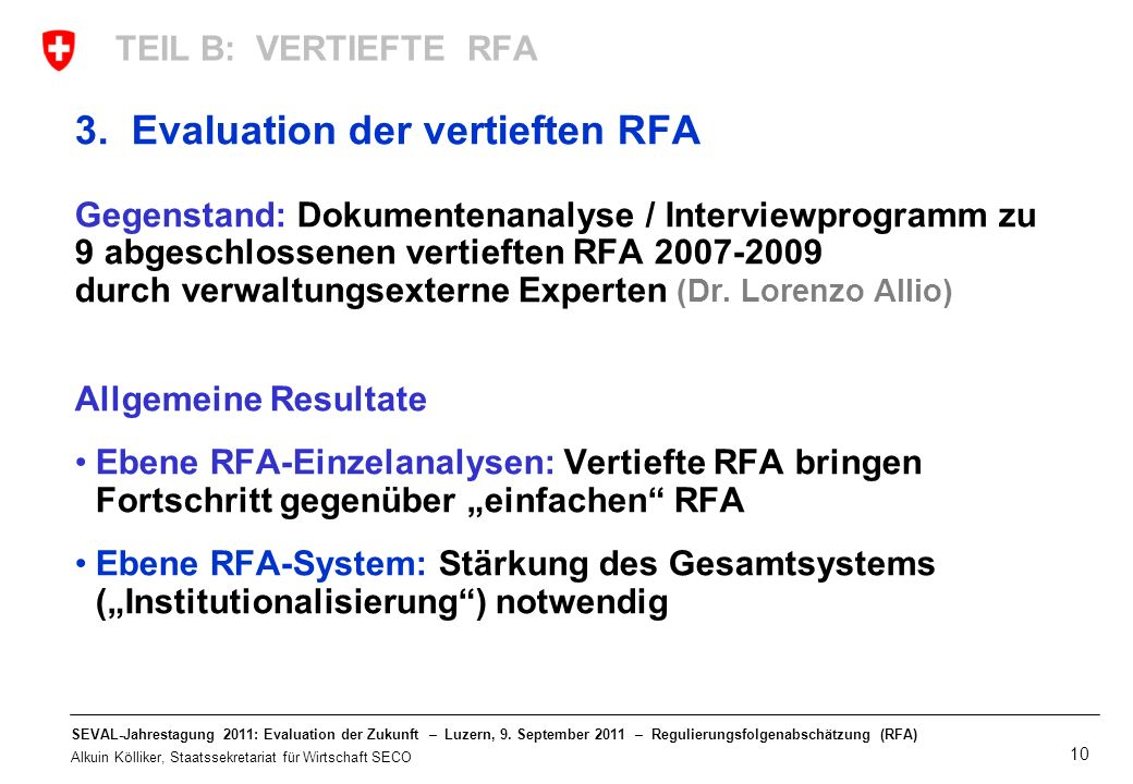 3. Evaluation der vertieften RFA