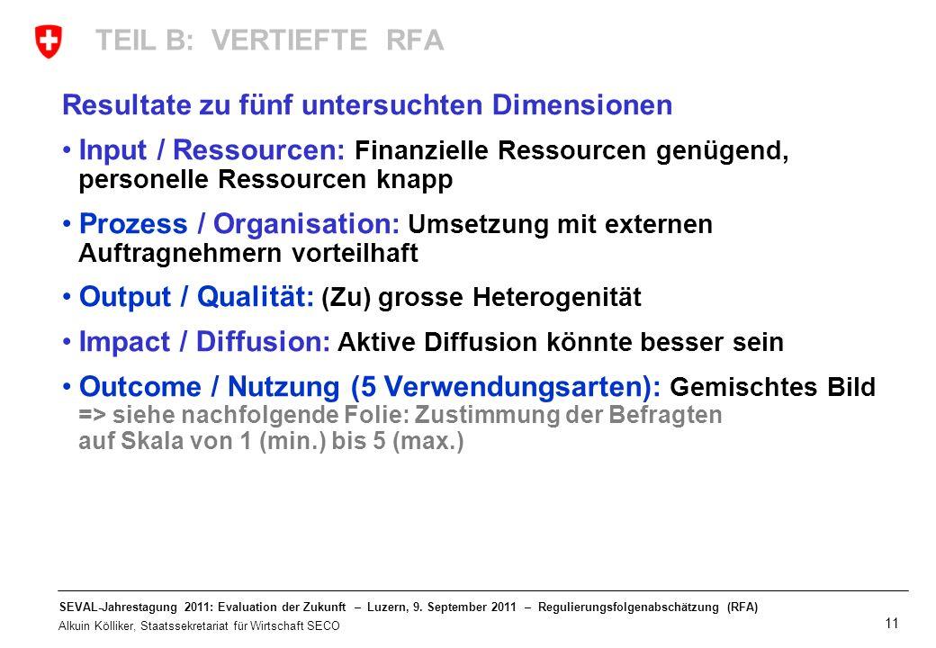 TEIL B: VERTIEFTE RFA Resultate zu fünf untersuchten Dimensionen. Input / Ressourcen: Finanzielle Ressourcen genügend, personelle Ressourcen knapp.