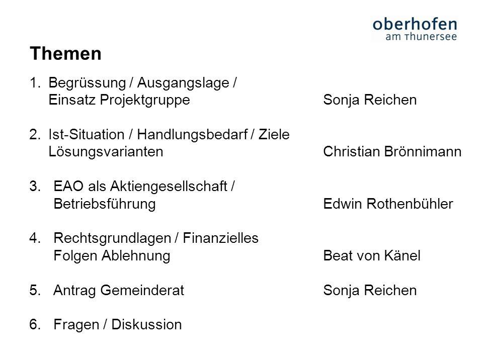 Themen Begrüssung / Ausgangslage / Einsatz Projektgruppe Sonja Reichen