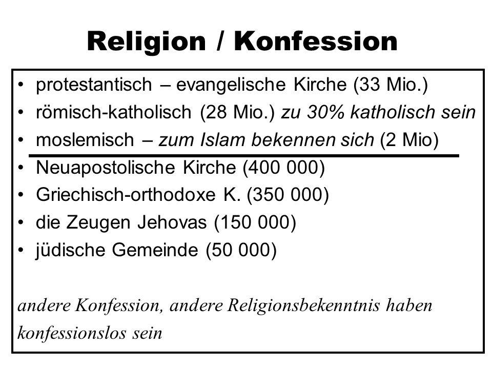 Religion / Konfession protestantisch – evangelische Kirche (33 Mio.)
