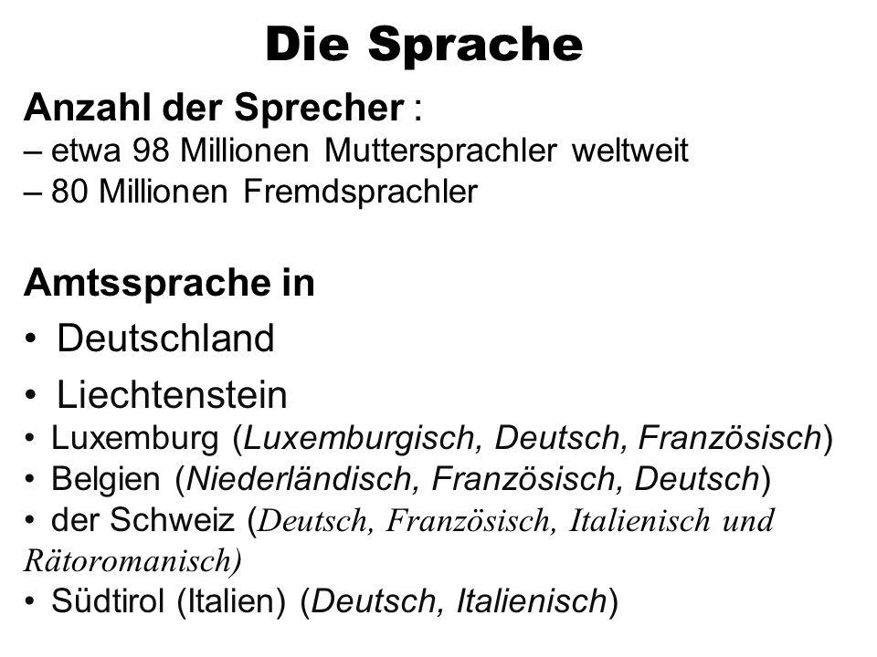 Die Sprache Anzahl der Sprecher : Amtssprache in Deutschland