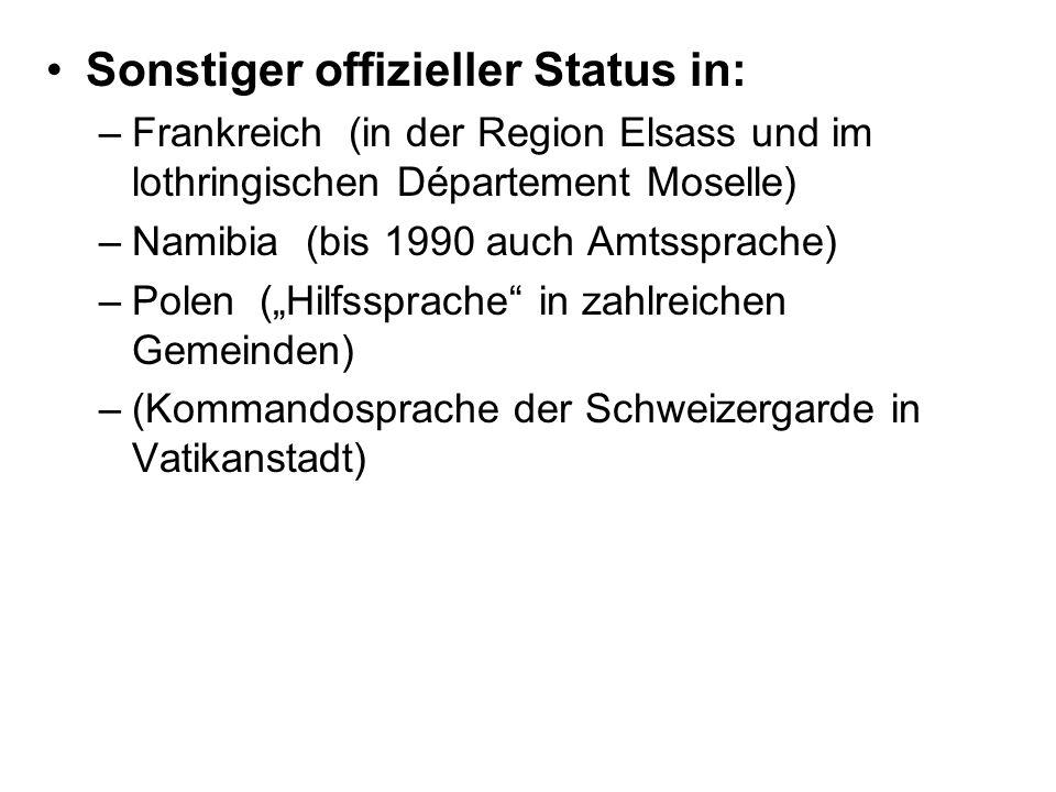 Sonstiger offizieller Status in: