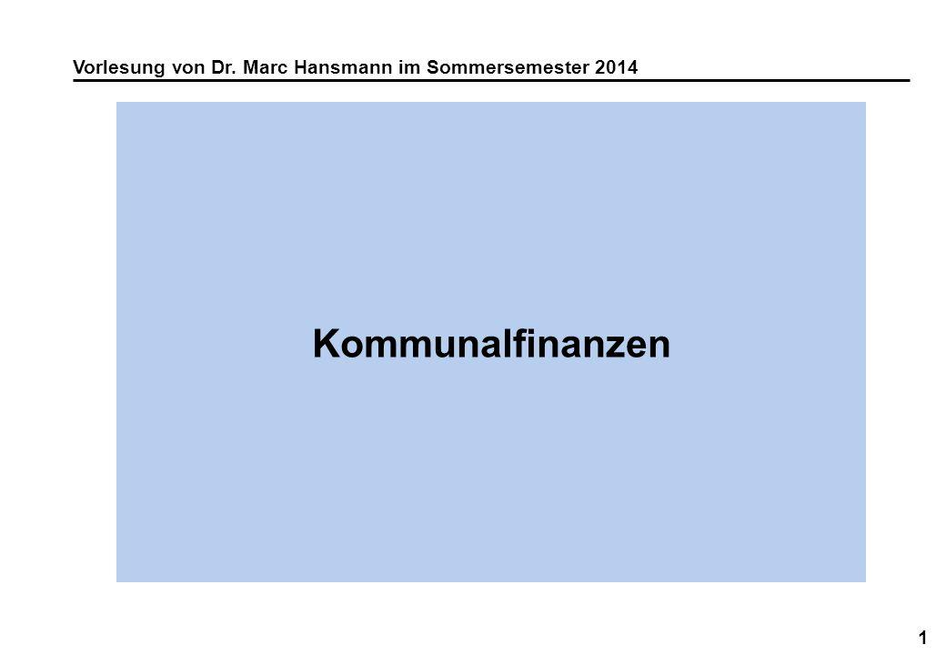 Vorlesung von Dr. Marc Hansmann im Sommersemester 2014
