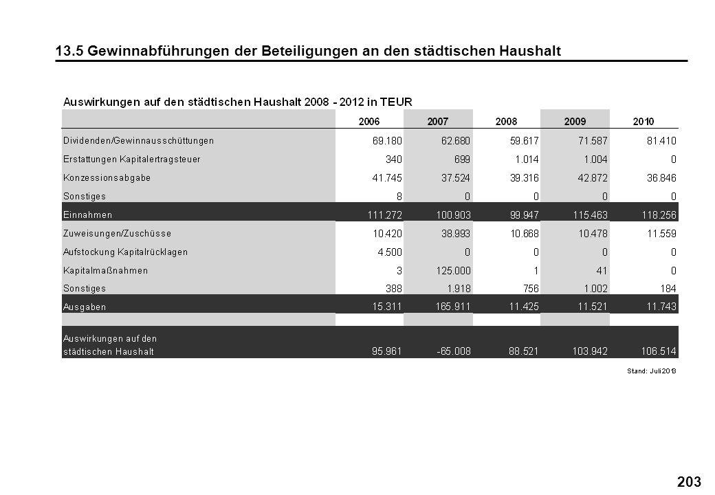 13.5 Gewinnabführungen der Beteiligungen an den städtischen Haushalt