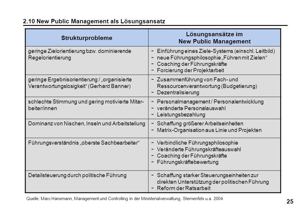 Lösungsansätze im New Public Management