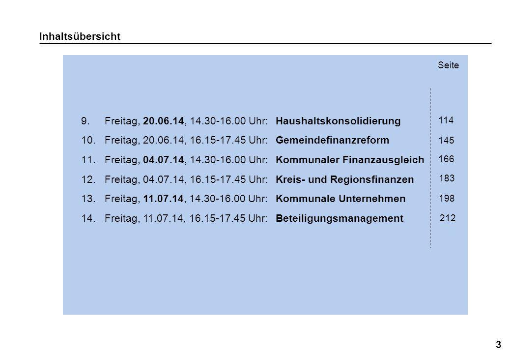 Freitag, 20.06.14, 14.30-16.00 Uhr: Haushaltskonsolidierung