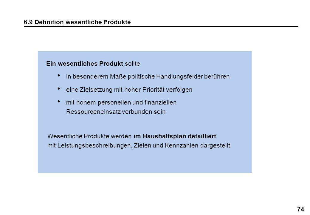 6.9 Definition wesentliche Produkte