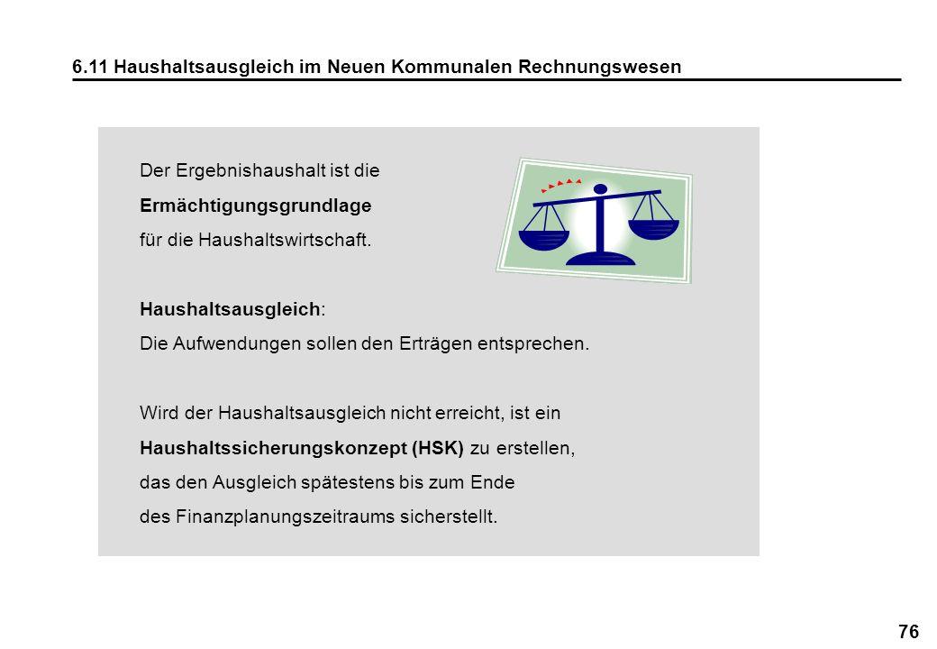 6.11 Haushaltsausgleich im Neuen Kommunalen Rechnungswesen