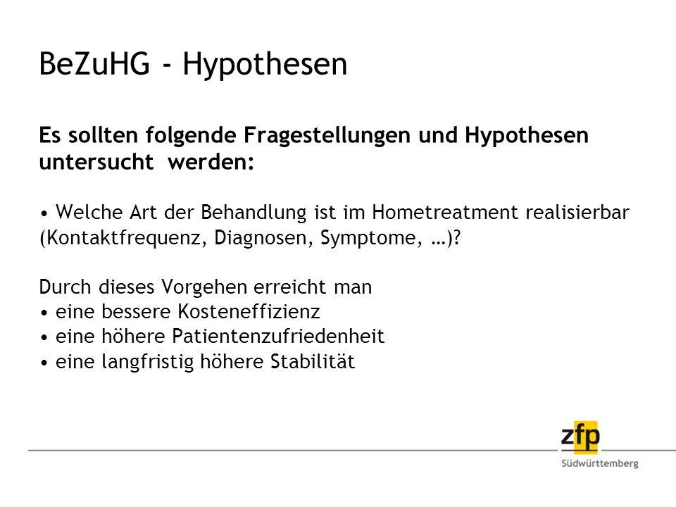 BeZuHG - Hypothesen Es sollten folgende Fragestellungen und Hypothesen untersucht werden: