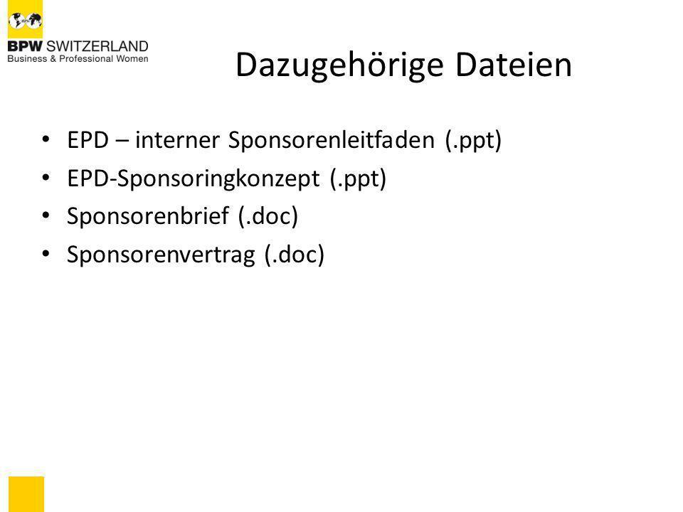 Dazugehörige Dateien EPD – interner Sponsorenleitfaden (.ppt)