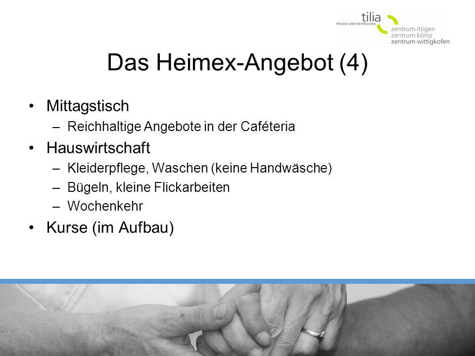 Das Heimex-Angebot (4) Mittagstisch Hauswirtschaft Kurse (im Aufbau)