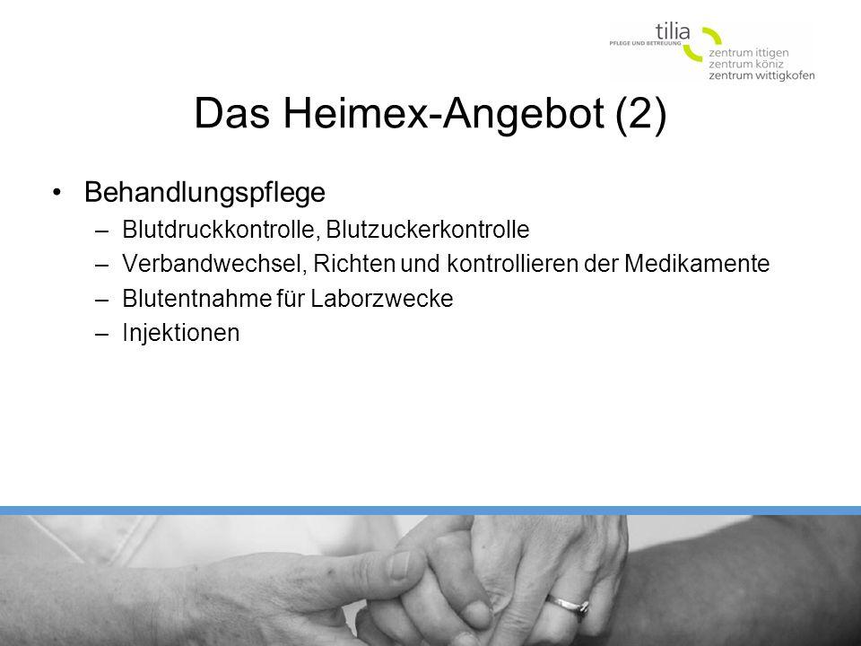 Das Heimex-Angebot (2) Behandlungspflege