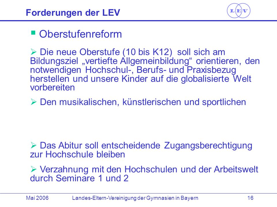 Forderungen der LEV Oberstufenreform