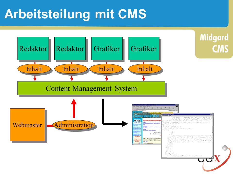 Arbeitsteilung mit CMS