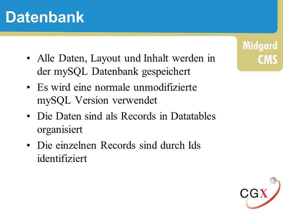 Datenbank Alle Daten, Layout und Inhalt werden in der mySQL Datenbank gespeichert. Es wird eine normale unmodifizierte mySQL Version verwendet.