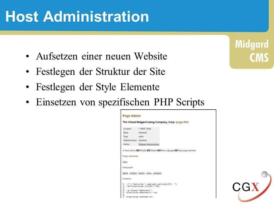 Host Administration Aufsetzen einer neuen Website