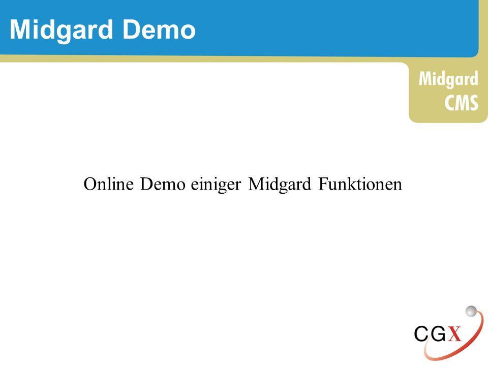 Midgard Demo Online Demo einiger Midgard Funktionen